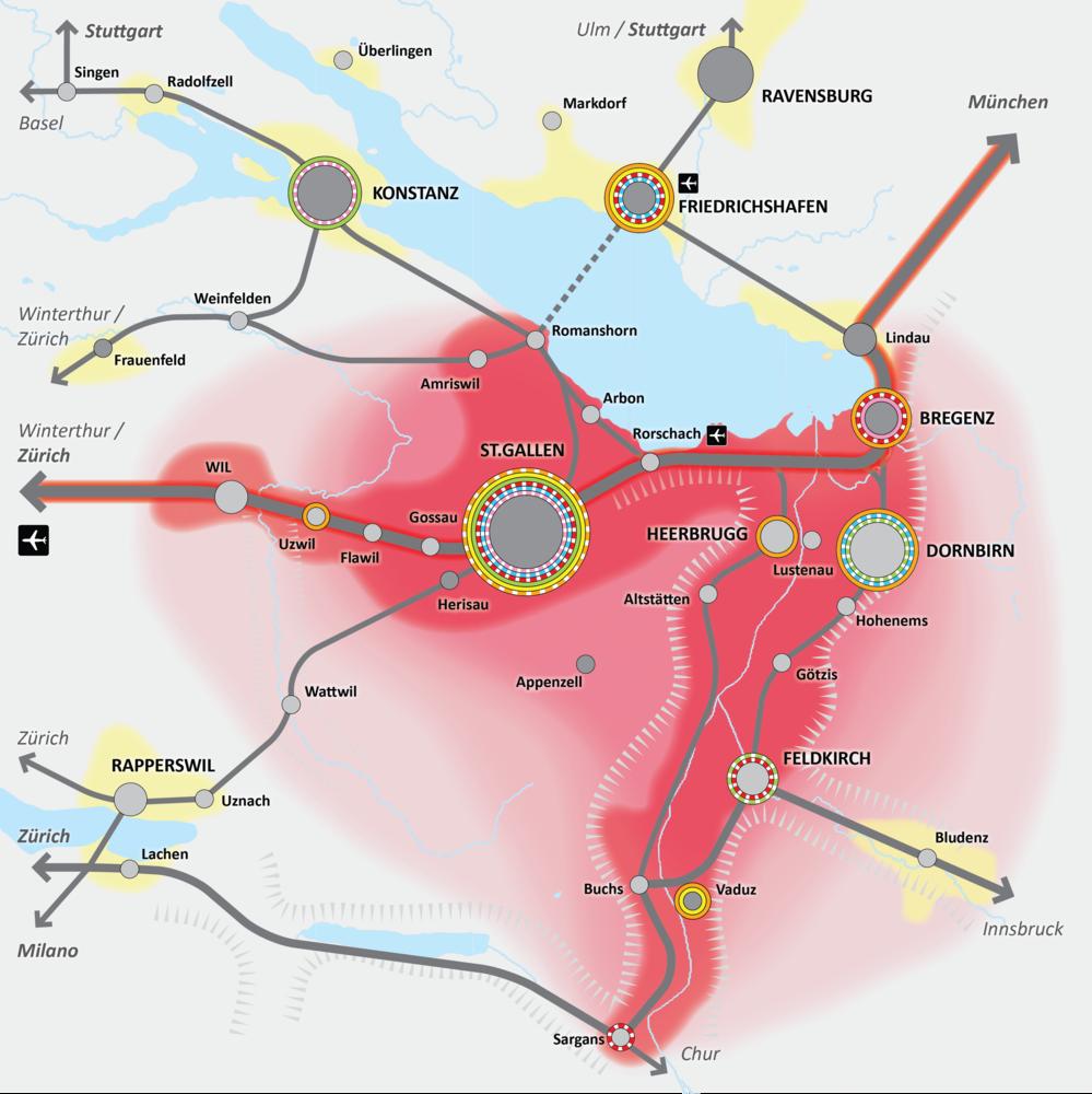 Bodensee Karte Schweiz.Regio St Gallen Bodensee Metropolitanraum
